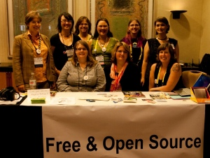 Women Staffing the FOSS Projects Booth at Grace Hopper