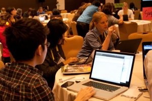 Women work on the Sahana project at the Grace Hopper Conference