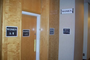 Photo of Men's restroom converted for use by women